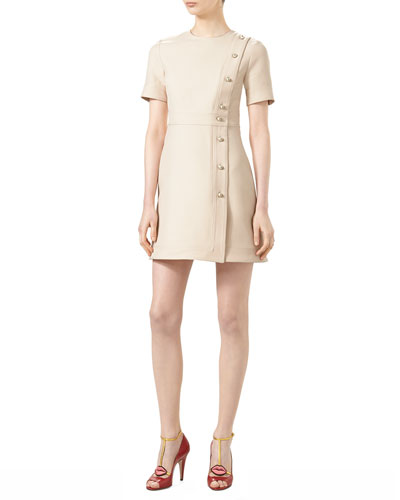 Wool/Silk Short-Sleeve Dress, Gardenia
