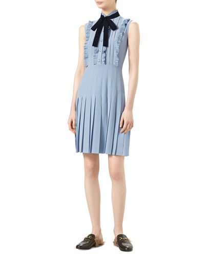 Sleeveless Pleated Dress, Dusty Blue