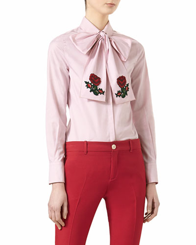 Embroidered Oxford Scarf Shirt, Soft Rose