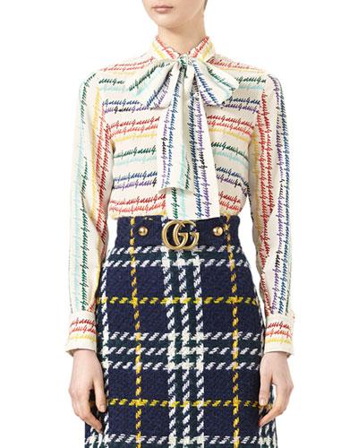 Gucci-Print Silk Shirt, Ivory/Rainbow