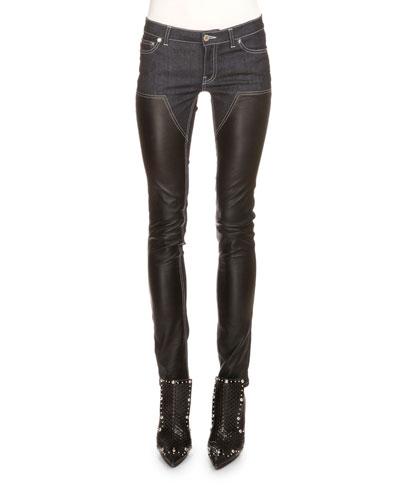 Denim & Leather Slim-Fit Jeans