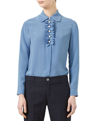 Silk Ruffled Shirt, Sky Blue