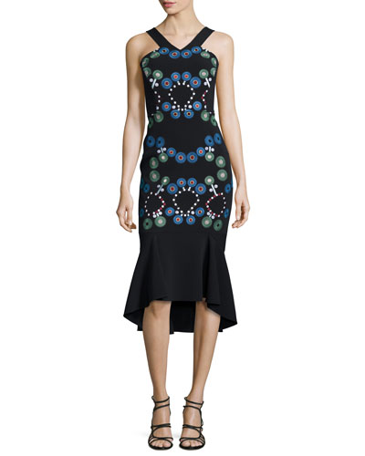 Embroidered Cady Halter-Neck Dress, Black