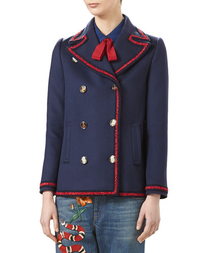 Wool Short Coat with Embroidery, Blue/Bordeaux
