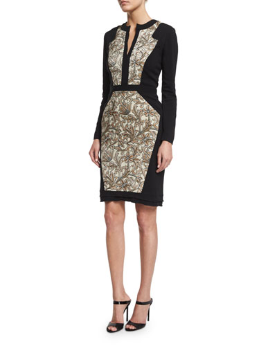 Long-Sleeve Combo Sheath Dress, Ivory/Gold