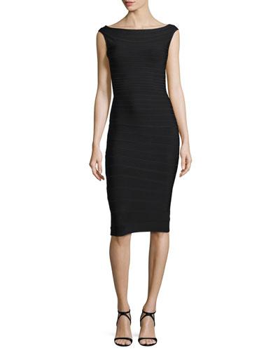 Mid-Length Boat-Neck Bandage Dress, Black
