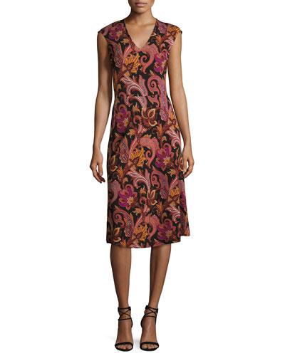 Cap-Sleeve Paisley-Print Jersey Dress, Red/Black