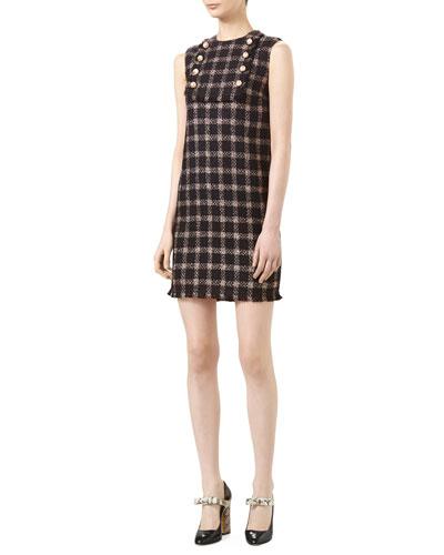 Lurex® Tweed Dress, Black/Baby Rose
