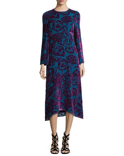 Long-Sleeve Velvet Midi Dress, Purple/Teal