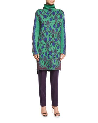 Long Knit Mock-Neck Sweater, Green
