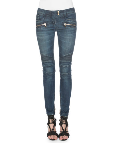 Cotton Denim Moto Jeans