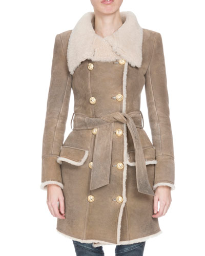 Leather Double-Breasted Coat w/Shearling Fur Lining, Beige