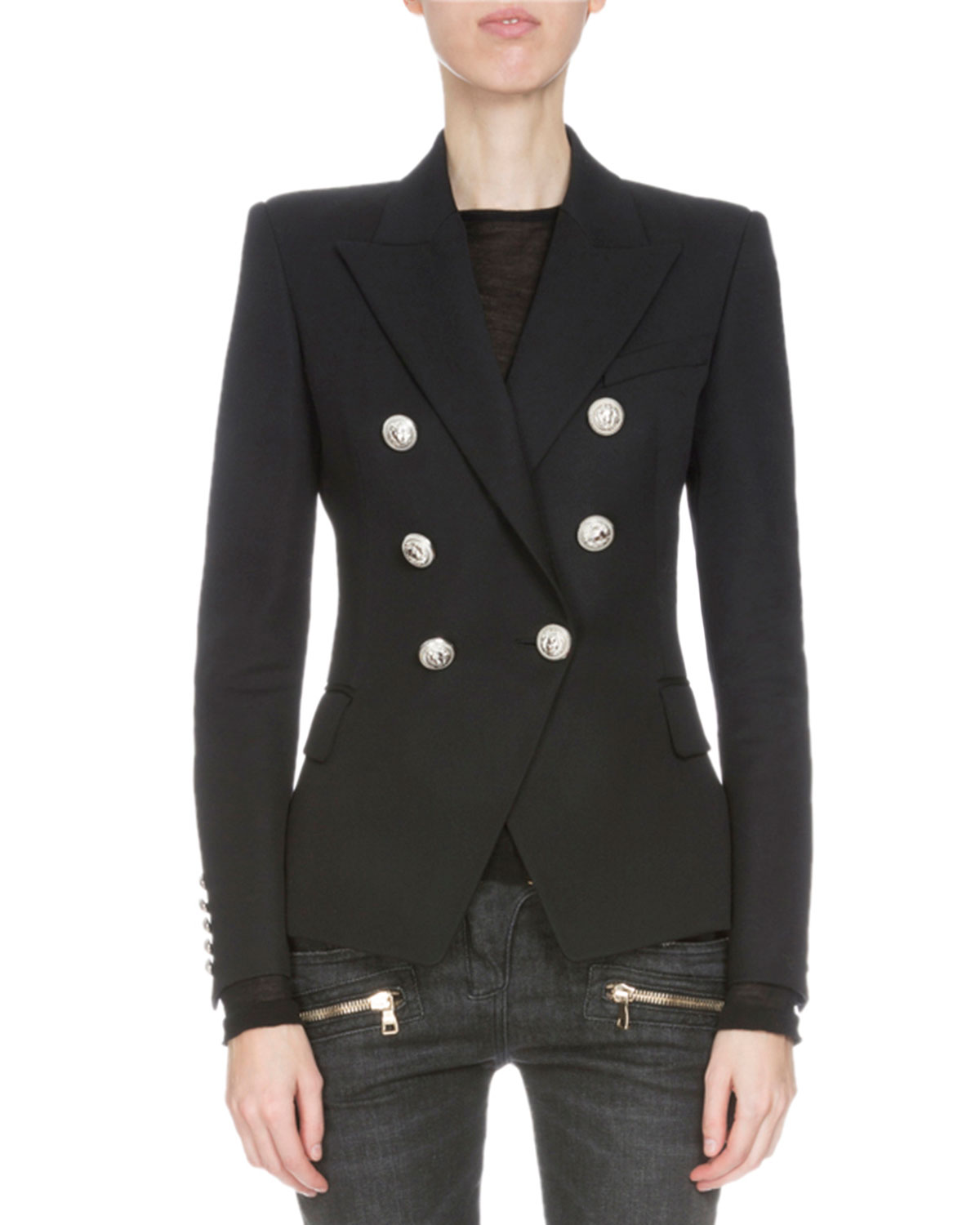 Classic Double-Breasted Wool Blazer, Black