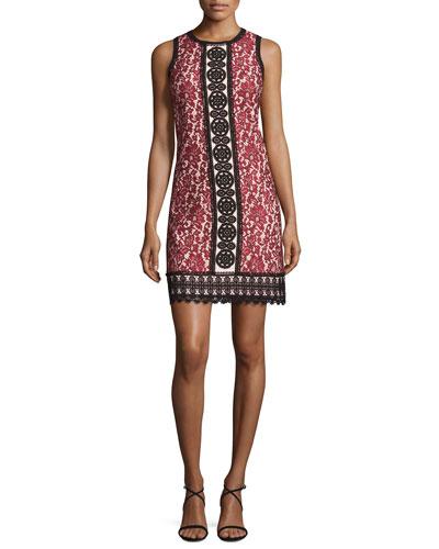 Sleeveless Bicolor Lace Shift Dress, Cherry