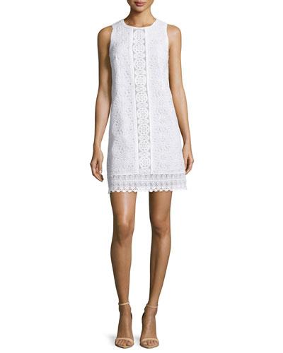 Sleeveless Lace Shift Dress, White