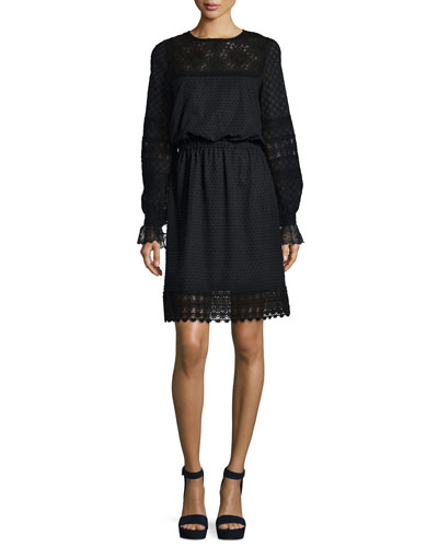 Long-Sleeve Lace-Trim Dress, Black