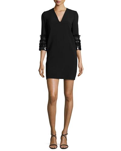 Embellished 3/4-Sleeve Dress, Black