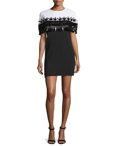 Embroidered Capelet Cocktail Dress, White/Black