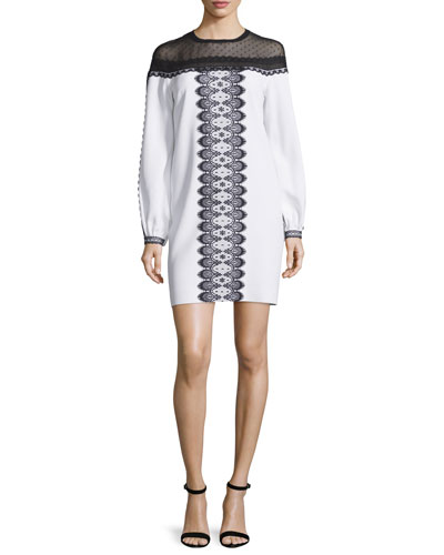 Long-Sleeve Bicolor Lace-Trim Dress, White/Black
