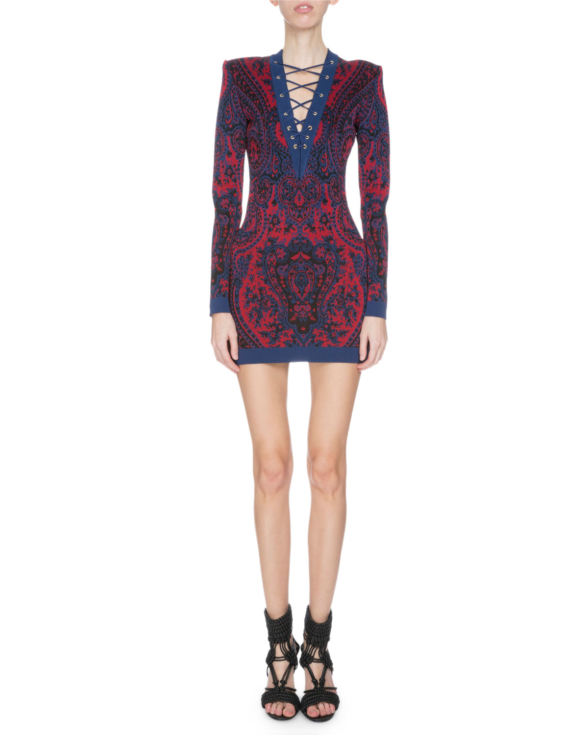 Long-Sleeve Paisley Lace-Up Dress, Red/Blue