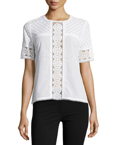 Short-Sleeve Lace-Panel Top,