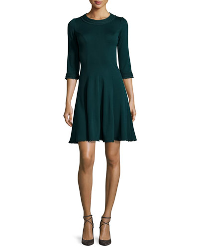 3/4-Sleeve Knit Fit-and-Flare Dress, Bottle Green