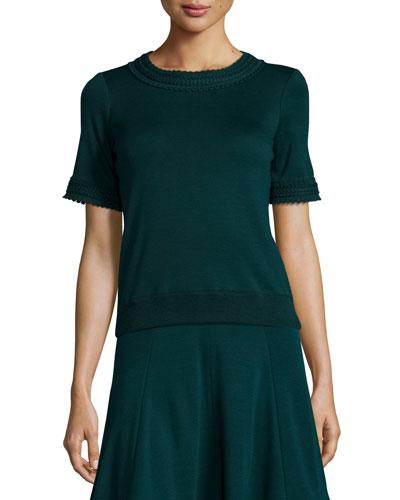 Knit Short-Sleeve Sweater, Bottle Green