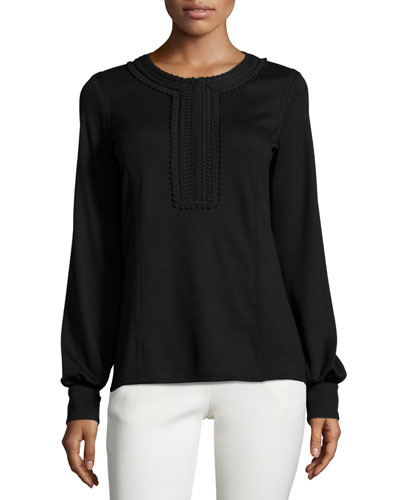 Long-Sleeve Half-Zip Top, Black