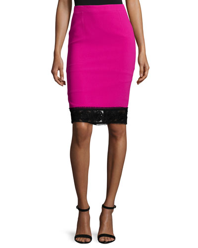Lace-Trim Crepe Pencil Skirt, Fuchsia