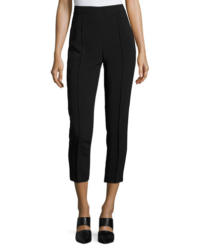 Classic Cropped Side-Zip Pants, Black