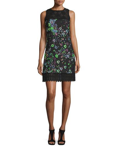 Sleeveless Embroidered Matelasse Shift Dress, Black/Blue/Green