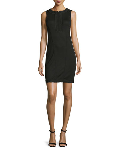 Sleeveless Knit Half-Zip Dress, Black