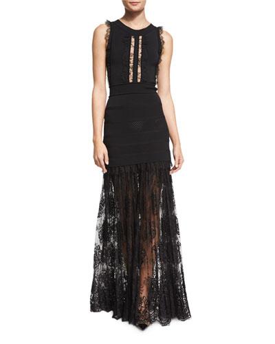 Sleeveless Knit Gown w/Lace Trim, Black