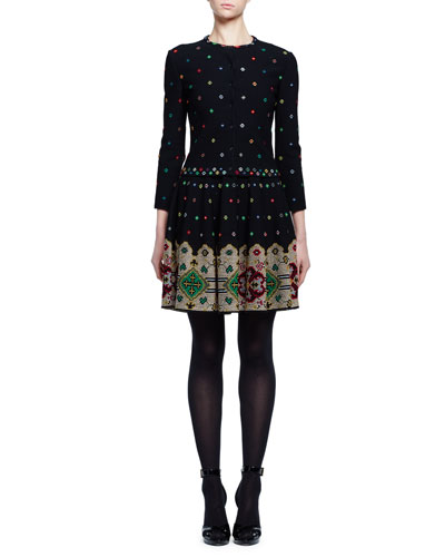 Pixelated Knit Cardigan Sweater, Black