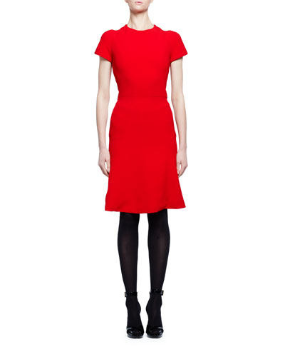 Short-Sleeve Crewneck Flare-Hem Dress, Red