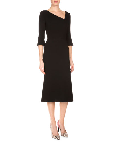 3/4-Sleeve Wool Midi Dress, Black