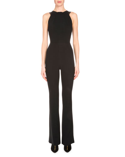 Sleeveless Stretch-Woven Jumpsuit w/Lace Back, Black