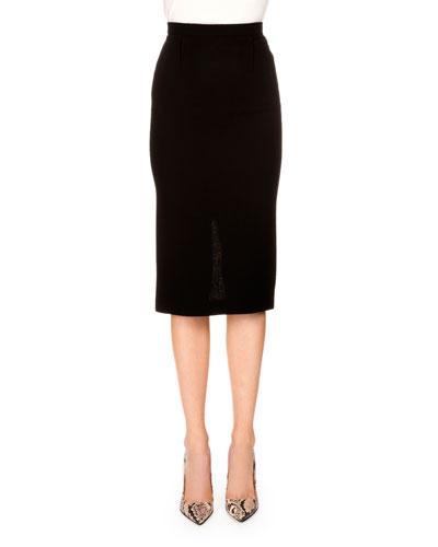 Wool Crepe Pencil Skirt, Black