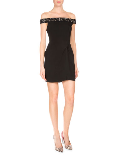 Embellished Off-the-Shoulder Mini Dress, Black