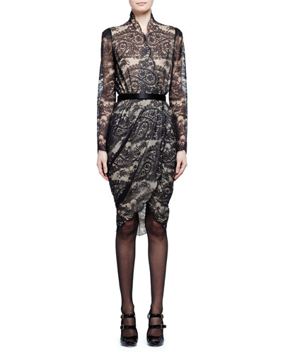 Long-Sleeve Scalloped Paisley Lace Wrap Dress, Black