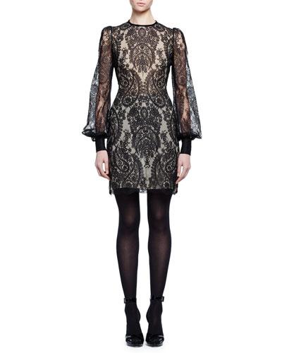 Long-Sleeve Baroque Lace Dress, Black