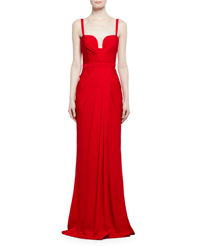 Sleeveless Gathered Silk Bustier Gown, Red