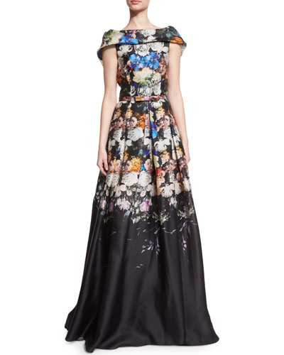 Folded Cap-Sleeve Degrade Organza Gown, Black/Blue