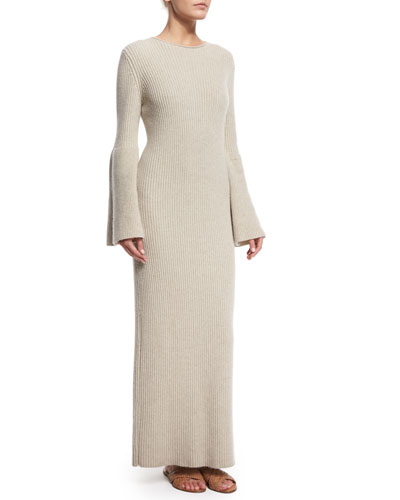 Ribbed Cashmere Maxi Sweaterdress, Peach