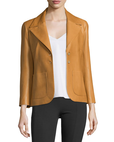 Leather Two-Pocket Schoolboy Jacket, Butterscotch