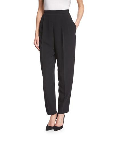 Stretch-Wool Side-Zip Tapered Pants, Black