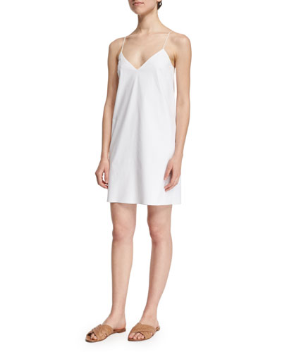 Stretch-Woven Mini Cami Dress, White