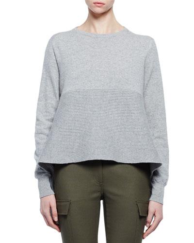 Cashmere Long-Sleeve Flounce-Hem Sweater, Gray