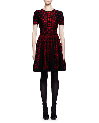 Short-Sleeve Rose Jacquard A-Line Dress, Black/Red