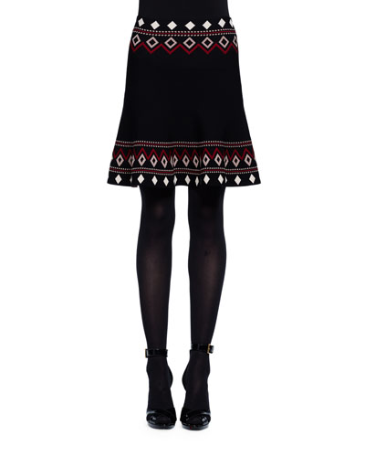Flared Tribal Knit Skirt, Black